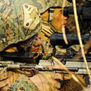 U.s. Marine Uses A Spotting Scope Poster