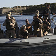 U.s. Marines Approach A Suspect Vessel Poster