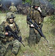 U.s. Marines Secure A Perimeter Poster