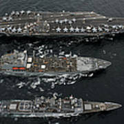 U.s. Navy Ships Conduct A Replenishment Poster