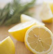 Usa, New Jersey, Jersey City, Lemon On Chopping Board Poster