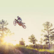 Usa, Texas, Austin, Dirt Bike Jumping Poster by King Lawrence