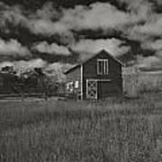 Utah Barn In Black And White Poster