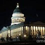 Utah Capitol At Night Poster by Gary Whitton