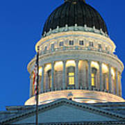 Utah State Capitol Building Dome At Sunset Poster