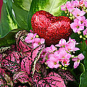 Valentine Heart And Flowers Poster