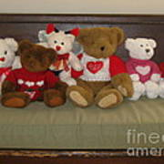 Valentine Teddy Bears In A Row  Poster