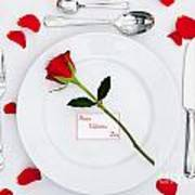 Valentines Place Setting With Red Rose And Petals Poster