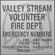 Valley Stream Fire Department In Black And White Poster