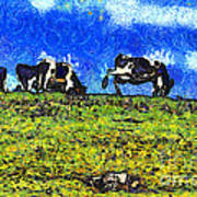 Van Gogh Goes Cow Tipping 7d3290 Poster