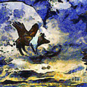 Van Gogh.s Flying Pig 2 Poster by Wingsdomain Art and Photography
