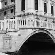 Venice Bridge Bw Poster