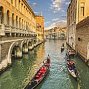 Venice View To The Grand Canal From The Calle Foscari Bridge Poster