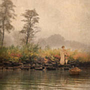 Victorian Lady By Row Boat Poster