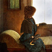 Victorian Lady Gazing Out The Window Poster