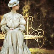 Victorian Lady On Garden Bench Poster