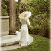 Victorian Woman In Garden With Parasol Poster