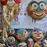 Vietnamese Bamboo Masks For Sale Poster
