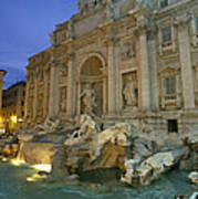 View At Dusk Of The Trevi Fountain Poster