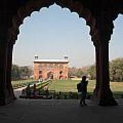 View From Inside The Red Fort With Tourist Poster