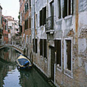 View Of A Canal In A Quiet Residential Poster