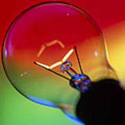 View Of An Lit Electric Light Bulb Poster