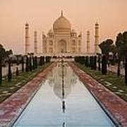 View Of Taj Mahal Reflecting In Pond Poster