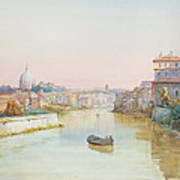 View Of The Tevere From The Ponte Sisto  Poster