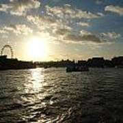 View Of The Thames At Sunset With London Eye In The Background Poster