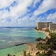 View Of Waikiki And Beach Poster