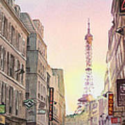 View On Eiffel Tower From Rue Saint Dominique Paris France Poster