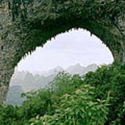View Through Moon Hill In Guangxi In China Poster