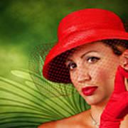 Vintage - Red Hat Lady Poster