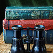 Vintage Binoculars And Books Poster