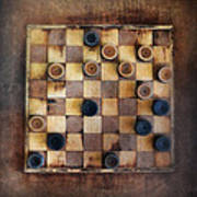 Vintage Checkers Game Poster