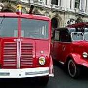 Vintage Fire Truck Duo Poster