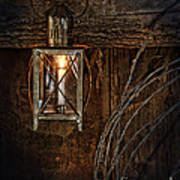 Vintage Lantern Hung In A Barn Poster