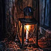 Vintage Lantern In A Barn Poster by Jill Battaglia