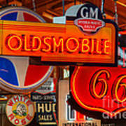 Vintage Neon Sign Oldsmobile Poster