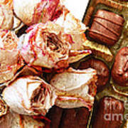 Vintage Roses And Chocolates Painterly Poster
