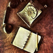 Vintage Telephone And Notebook. Poster