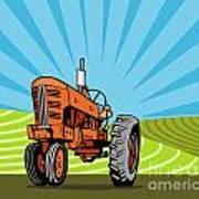 Vintage Tractor Retro Poster by Aloysius Patrimonio