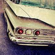 Vintage White Car Poster