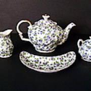 Viola Teapot With Creamer And Sugar Bowl Poster