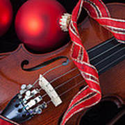 Violin And Red Ornaments Poster