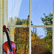 Violin On A Window Sill Poster