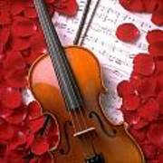 Violin On Sheet Music With Rose Petals Poster