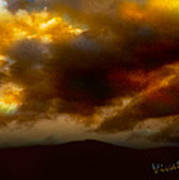 Vivachas Golden Hour Sunset Glowing Clouds  Poster