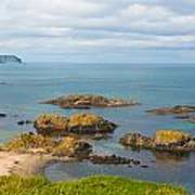 Volcanic Rock Formations In Ballintoy Bay Poster