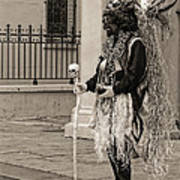 Voodoo Man In Jackson Square New Orleans- Sepia Poster